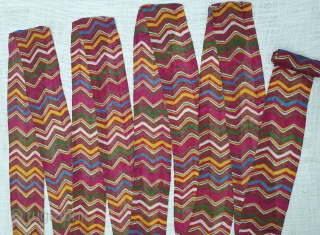 Muslin turban cloth tie-dyed in multiple colours in lahariya (wave) style, FromSekhawati DistrictRajasthan. India. C.1900. Its size is near by 8 to 10 miters(20191031_135813).