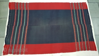 Waziri Shawl (Indigo Blue Colour) for Man From Waziristan, Pakistan. India.C.1900.Natural Dye with Hand Woven Cotton and silk ends,with silk end borders.Its size is 159cmX243cm(20181118_152851).