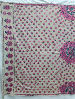 Abochhini Wedding Shawl (Women) from Sindh Region of Undivided India. India, Silk Embroidery on the Silk, c.1900. Its size is 126cmX188cm (20191208_151241).