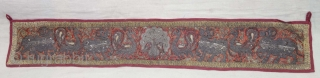 Pichwai Toran for the Gopashtami with Cow's and Peacock, Zardozi Embroidery on the Silk with Real Zari Thread (Real Silver) From Gujarat India. Late 19th Century. Its size 12cm x 72cm(DSC08596).