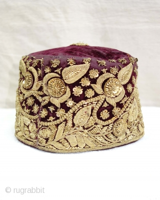 Parsi Topi (Hat) Zardozi Embroidered on cotton velvet, With Real Silver Thread with Gold Polish,From Surat, Gujarat, India. India.Late19th Century.
