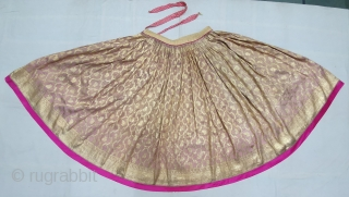 Ceremonial Real Zari brocade Ghaghra (Skirt). Real Zari Gold threads weaving on the Tissue Fabric, From Varanasi Uttar Pradesh North India. India. C.1900. Its size Details, length is 90 cm, round is  ...