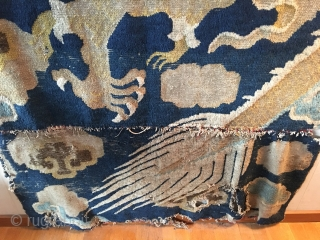 Early 18th c Ning Xia pillar rug fragment with great charisma. in two parts and missing its head.
