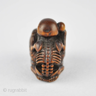 Japanese wood netsuke finely carved with the skeleton of the priest Danka beating the mokugyo, 