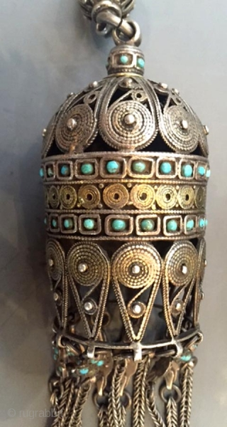 "Pr  Kazakh  silver and  inlaid turquoise ornaments used on a Saluke  headdress. These are from the Kzyl Orda region of Kazakhstan 19th c 12"" H x 2.1/4 ""  ..."