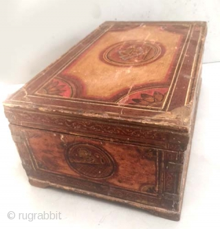 Anglo Indian Fau inlaid document box in original paint inside and out circa 1830's -1850's. India collected in the field in the 80's.