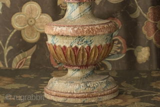 18th c Goan colonial alter ornament wood carved with painted marbleized base.