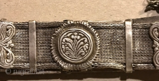 South Indian silver belt with front opening clasp from Hyderbadh area of India. 19th c