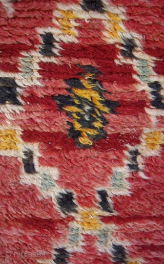 MOROCCAN RUG from the district of Rehamna in the vast area west of Marrakech known as the Haouz. The knotted pile is wool and the warps and wefts are a mixture of  ...