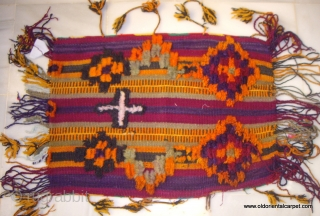 Moroccan High Atlas Berberpillow / cushion. This is an exquisite and rare example of a night time pillow and a day time cushion where the foundation is a flat weave kilim, upon  ...