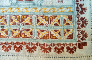 OTTOMAN EMBROIDERY which is antique and dates from the late 19th century. It is probably from the Greek Island group of the Dodecanese which were part of the Ottoman Empire of the  ...