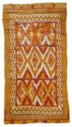 MOROCCAN HIGH ATLAS BERBER CARPET. This old carpet is from the region of Ait Ouaouzguite in the High Atlas mountains south of Marrakech. The dyes include colours taken from henna, saffron and  ...