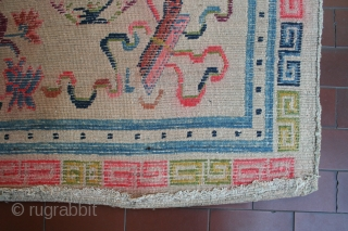 Genuine old (1920-30) and colorful Tibetan khaden rug found in Western Tibet, with full array of Buddhist symbols, 167 x 89 cm circa, good condition, some old and well done repairs, to  ...