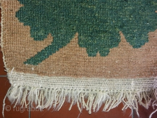 """Gorgeous antique Tibetan mat, very rare cut-in-relief pattern (Tib.: buma rimo, """"shaped like a mountain""""), natural colours, circa 82 by 62 cm, excellent condition (only a few knots have been professionally repiled  ..."""