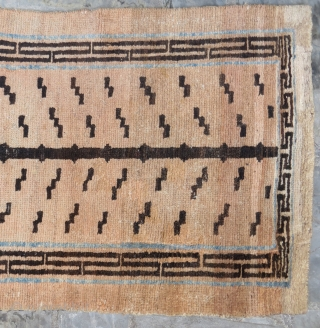 Tibetan tiger rug. Natural dyes with a line of indigo. All wool. Late 19th Century. Good condition, minor repairs. 