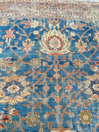 19th century Blue Sultanabad decorative Rug Size 275 x 380 cm