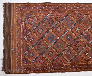Mid 19th Century Beshir With Great Ikat Design.Untouched One.It Has Original Kilim Ends.Size 135 x 250 Cm