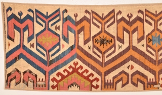 Early 19th Century Unusual Central Anatolian Kilim Fragment Size 57 x 191 cm