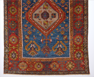 Blue Field 19th Century Anatolian Small Yahyalı Rug.It Has Good Quality Fine Piece.Size 96 x 135 Cm.It's in really good condition.