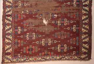 Circa 1800s or Early Yomud Kepse Gul Main Carpet Size 164 x 241 cm It Has Unusual Borders