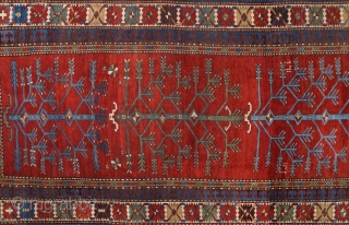 Unusual Tree Of Life Caucasian Type Rug.It Has Date 1320 With Good Condition.Size 120 x 325 Cm