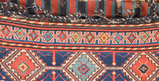"""Our attribution of this sumakh bag face is guided by Wertime who published an almost identical example. A further bag of this rare group is encountered in Frauenknecht's book, """"Schahsavan Sumakh Taschen"""".  ..."""