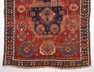 Early 19th Century Really Unusual Type Of Three Of Life Caucasian Rug Size 150 x 170 Cm.Completely Original Untouched One.As Found It.
