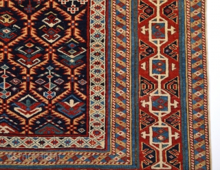 19th Century Unusual Small Shirvan Kuba Rug.With Great Border And It Has Really Good Quality.Thin One.The Ground Is Deep Blue Not Black.It's In Good Condition.Size 110 x 130 Cm