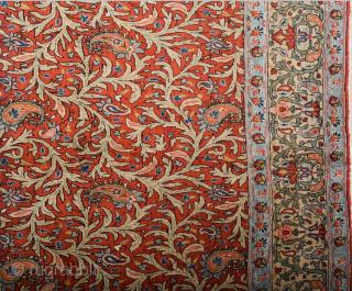 Iran Ghoum Rug Size 230 x 325 cm All the colors are naturel and ıt's in perfect condition. all the sides ends and knots are original untouched one.