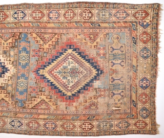19th Century Large Size Unusual Design Shirvan Rug As Found It Size 155 x 295 Cm