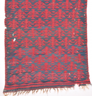 19th Century Unusual Size Sharköy Kilim.It Has Great Unusual Person Details.Small Size 95 x 158 Cm