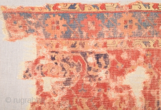 Early 17th Century Star Ushak Fragment Completely Original And Untouched One.Size 94 x 174 Cm.Already Mounted.