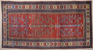 Unusual Tree Of Life Caucasian Type Rug.It Has Date 1320/1858 With Good Condition.Size 120 x 325 Cm