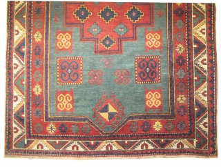 """Fachralo-Kazak prayer Caucasian, dated 1315 = 1897,  antique, collector's item. 194 x 150 (cm) 6' 4"""" x 4' 11""""  carpet ID: RS-230 In good condition, high pile, fine knotted, very rare  ..."""