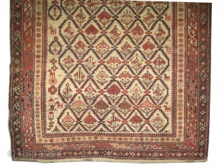 """Shirvan prayer Caucasian knotted circa in 1905 antique, collector's item.  179 x 130 (cm) 5' 10"""" x 4' 3""""  carpet ID: V-11 Prayer design, the background color is ivory, the surrounded  ..."""