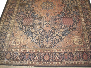 """Tabriz Persian, knotted circa in 1935, semi antique, 384 x 283 (cm) 12' 7"""" x 9' 3""""   carpet ID: UOE-1 The black knots are oxidized, the knots are hand spun wool,  ..."""
