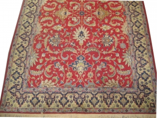"""Tabriz Persian knotted circa in 1935 semi antique and signed """"Jawan Tabriz"""".  364 x 245 (cm) 11' 11"""" x 8'  carpet ID: P-4911  The knots are hand spun wool, in good  ..."""