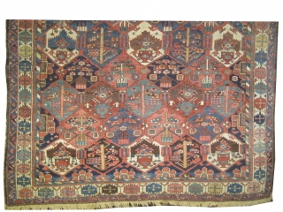 """Baktiar Persian knotted circa in 1915 antique, 283 x 216 (cm) 9' 3"""" x 7' 1""""  carpet ID: P-5960 The knots are hand spun wool, allover geometric design, high pile in perfect  ..."""