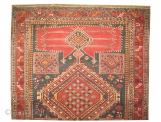 """Shirvan Caucasian knotted circa in 1915 antique, 233 x 126 (cm) 7' 8"""" x 4' 2""""  carpet ID: H-210 In good condition, high pile, very fine knotted, elegant, the knots are hand  ..."""