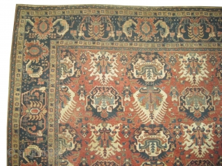 """Bakshaish-Heriz Persian knotted circa in 1895 antique, 350 x 265 (cm) 11' 6"""" x 8' 8""""  carpet ID: P-6148 The background color is terracotta, all over beetles design, the surrounded large border  ..."""
