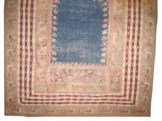 """Ghiordez Anatolian knotted circa in 1740 antique, collector's item. 190 x 131 (cm) 6' 3"""" x 4' 4""""  carpet ID: K-4062 Giordez-Tchbekle prayer, the black color is oxidized, in good condition according  ..."""