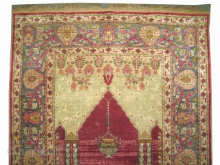 """Boursa Silk prayer Anatolian, knotted circa in 1905 antique, collector's item, 177 x 130 (cm) 5' 10"""" x 4' 3""""  carpet ID: K-4063 The knots, the warp and the weft threads are  ..."""