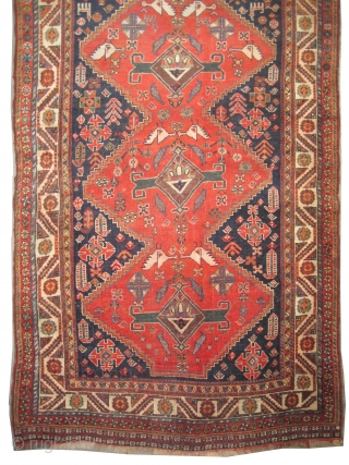 """Qashqai Persian knotted circa in 1880 antique, 262 x 134 (cm) 8' 7"""" x 4' 5""""  carpet ID: E-360 High standard collector's item, the knots are hand spun lamb wool, the warp  ..."""