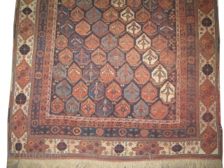 """Afshar Persian knotted circa in 1880 antique, 254 x 165 (cm) 8' 4"""" x 5' 5""""  carpet ID: K-1232 The black color is oxidized, the warp and the weft threads are  ..."""