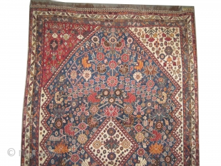 """Qashqai Mille fleurs Persian, knotted circa in 1905 antique, 236 x 146 (cm) 7' 9"""" x 4' 9""""  carpet ID: K-2970 The knots, the warp and the weft threads are mixed with  ..."""