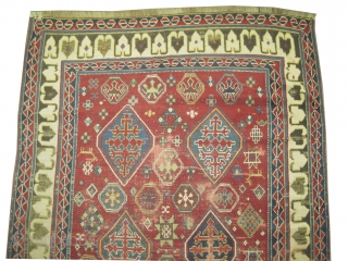 """Bordjalou-Kazak Caucasian knotted circa in 1870 antique, collector's item, 275 x 140 (cm) 9'  x 4' 7""""  carpet ID: K-3449 The black color is oxidized, the background color is rust, the  ..."""