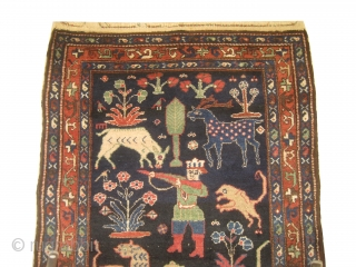 Enjilaz Persian, knotted circa in 1916, antique, 119 x 192 cm, carpet ID: DD-21 Indigo background designed with animals and trees, high pile in perfect condition and in its original shape, unique example,  ...