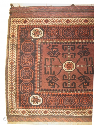 """Belutch Persian, knotted circa in 1920 antique, 78 x 76cm, carpet ID: EMM-1 Thick pile in perfect condition, soft, in its original shape, both edges are finished with kilim """"S"""" design, the knots  ..."""