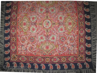 "Rashdi Persian embroidery, circa 1870 antique, collector's item, 149 x 144 (cm) 4' 11"" x 4' 9""  carpet ID: MM-10