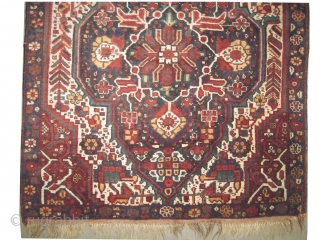 """Khamseh Persian knotted circa in 1916 antique. 174 x 124 (cm) 5' 8"""" x 4' 1""""  carpet ID: E-461 The knots, the warp and the weft threads are 100% wool. On the  ..."""